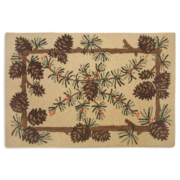 Needles And Cones Pine Cone Scatter Rug