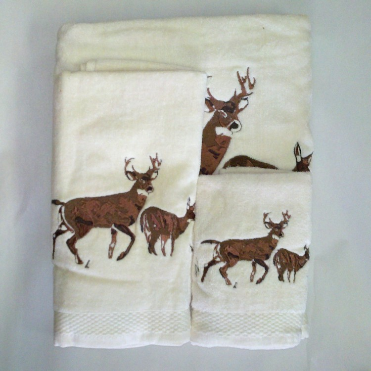 Embroidered Deer Towel Set Cream
