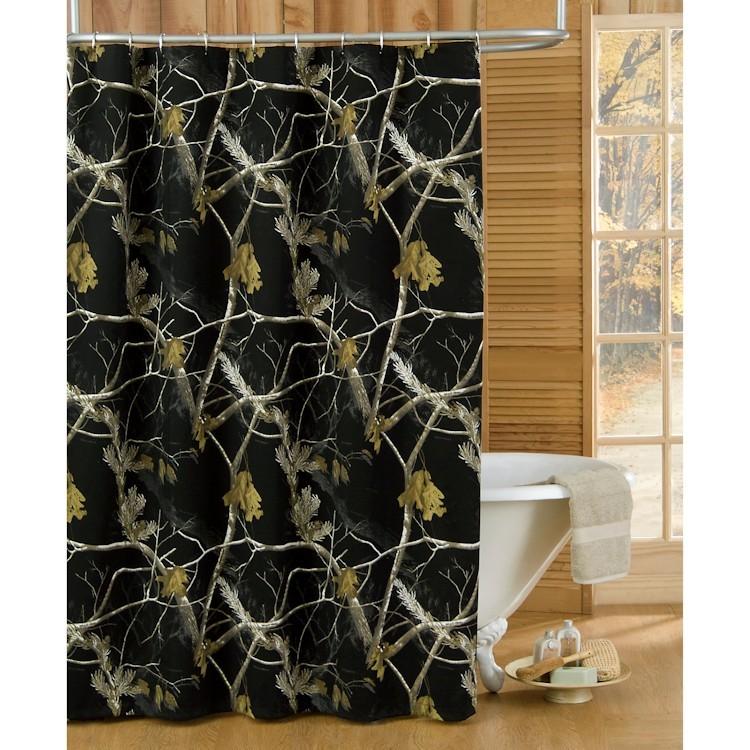 black camo shower curtain