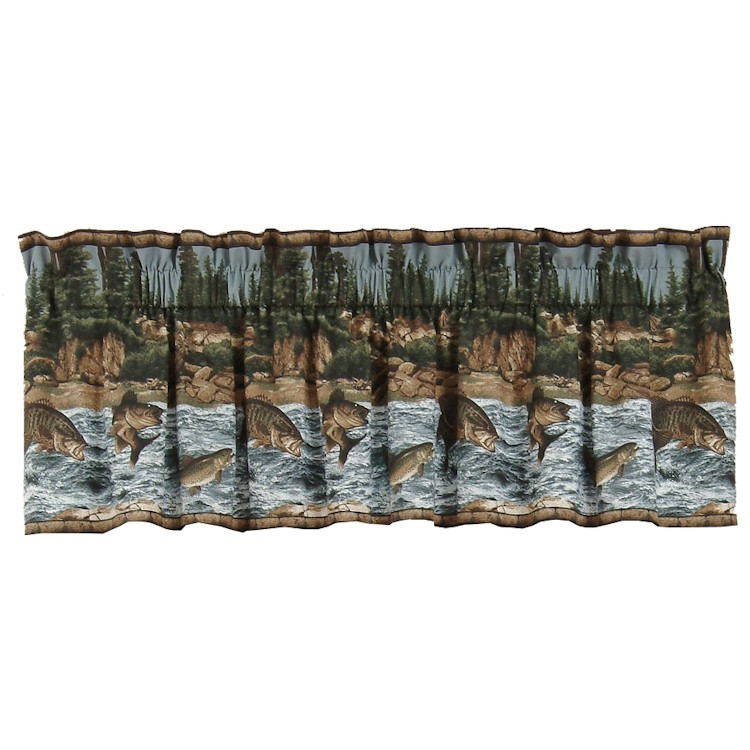 River fishing valance for Fish curtains for windows