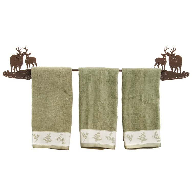 Buck and doe deer towel bar and bath accessories for Hunting bathroom accessories