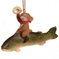 Mouse on Fish Ornament-CLEARANCE