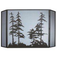 Tall Pine Trees Folding Fire Screen