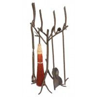 Rustic Pine Cone Fire Tool Set
