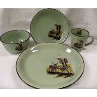 Meadow Whitetail Deer Dinnerware - Service for 4