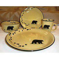 Black Bear and Tracks Lodge Dinnerware - Service for 4