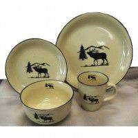 Elk Silhouette Lodge Dinnerware - Service for 4