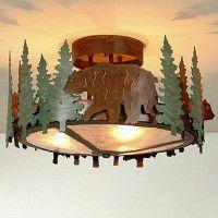 Woodcrest Bear Semi-Flush Ceiling Light