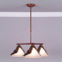Cedarwood Spruce Cone 3 Light Chandelier