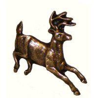 Antique Brass Running Whitetail Deer Knob