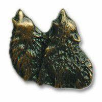Antique Brass Dual Howling Wolf Knob