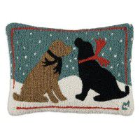 Evening Snow Dogs Pillow