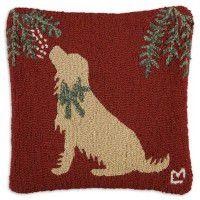 Golden Mistletoe Dog Pillow