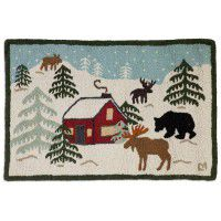 Wilderness Cabin Hooked Rug