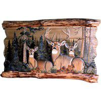 "Deer Family In Forest  Wood Wall Art 41"" X 30"""