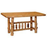 Counter Height Rectangular Log Dining Table