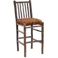 Upholstered Spindle Back Hickory Barstool