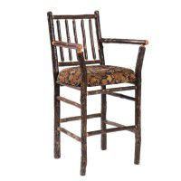 Upholstered Hickory Bar Stool with Arms