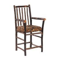 Upholstered Hickory Bar Chair with Arms
