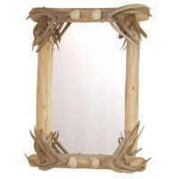 Lodgepole Mirror with Antler Corner Accents