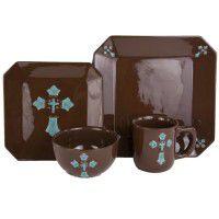 Turquoise Cross Dinnerware - 16 Pcs Service for 4