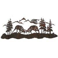 Fighting Bull Elk Scenic Coat Rack