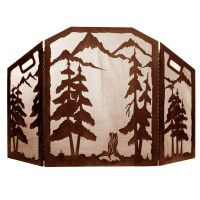 Scenic Pine Forest Fireplace Screen