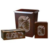 Rustic Pinecone Waste Basket and Tissue Boxes