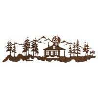 Cabin in the Pines Metal Wall Art