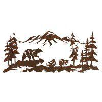 Bear Family Mountain Metal Wall Art