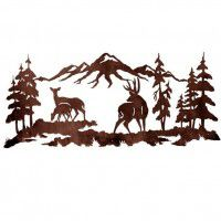 Deer Family Mountain Metal Wall Art