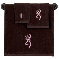 Brown with Pink Buckmark Towel Set - 3 Pcs