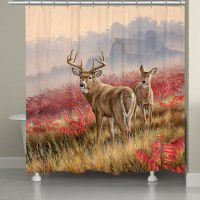 Deer in Lifting Fog Shower Curtain