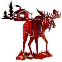 Night Moose Metal Wall Art