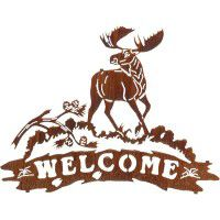 Moose and Pine Cone Welcome Metal Sign