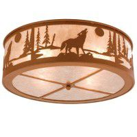 Wolf On The Loose Flush Mount Ceiling Light