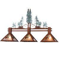 Winter Pine Tree 3-light Island Pendant