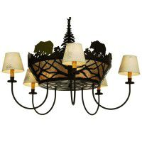 Bear On The Loose 5 Arm Chandelier