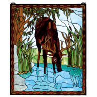 Summer Deer Stained Glass Window
