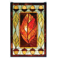 Acorn and Leaf Stained Glass Window