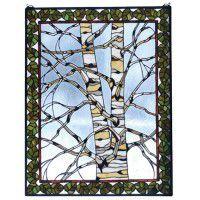 Winter Birch Stained Glass Window