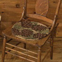 Natural Pine Cone Hooked Chair Pad