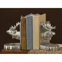Brushed Aluminum Moose Bookends