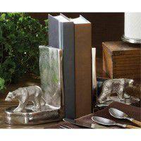 Brushed Aluminum Bear Bookends
