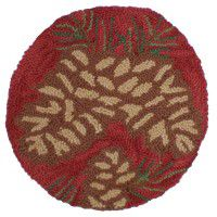 Red Pine Cone Hooked Chair Pad