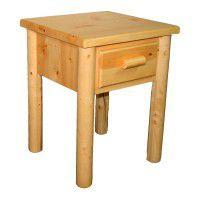 Lodge Pole One Drawer Log Nightstand