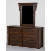 Northwoods Barnwood 6 Drawer Dresser with Mirror