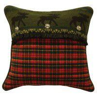 River Plaid Moose Pillow