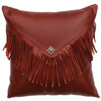 Fringed Red Leather Pillow