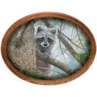 Rascal Raccoon Framed Oval Canvas
